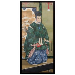 Japanese Imperial Portrait Painting of Man in Green Robes