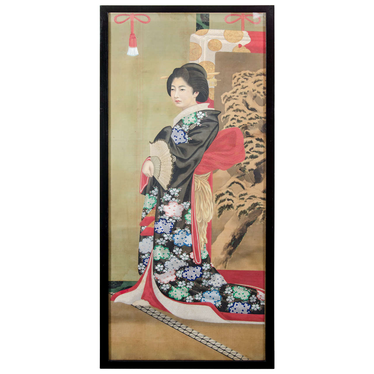 Japanese Imperial Portrait Painting of Woman in Black and Floral Robe