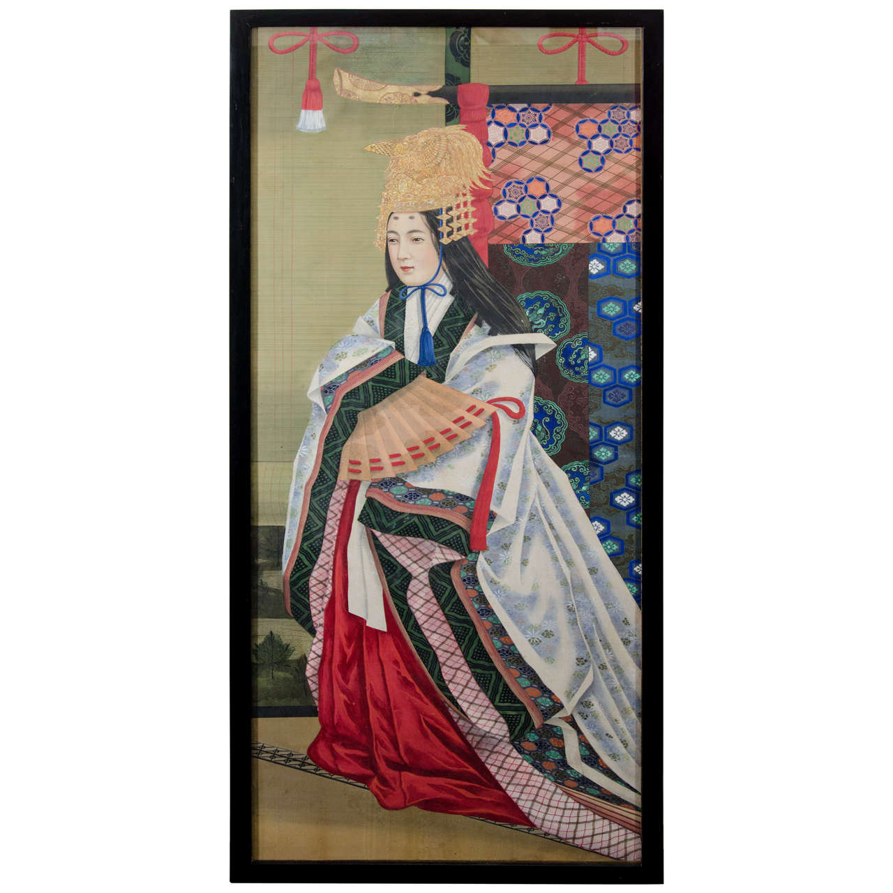 Japanese Imperial Portrait Painting of Woman in White, Red and Black