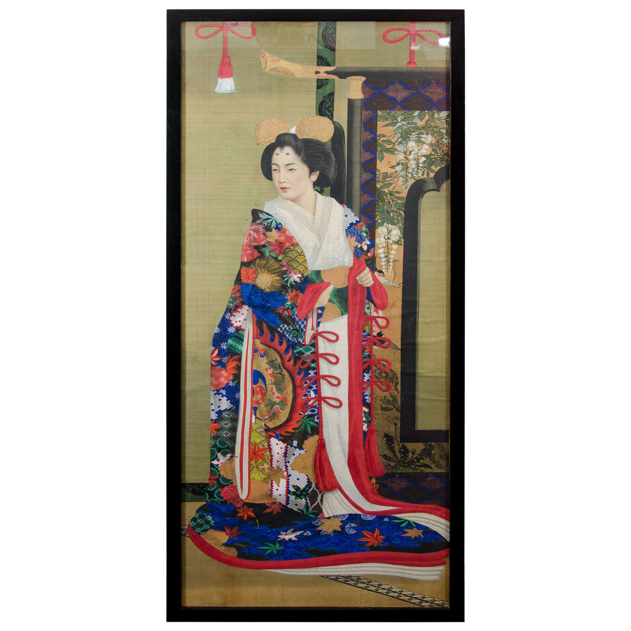 Japanese Imperial Portrait Painting of Woman in Red, Blue and White