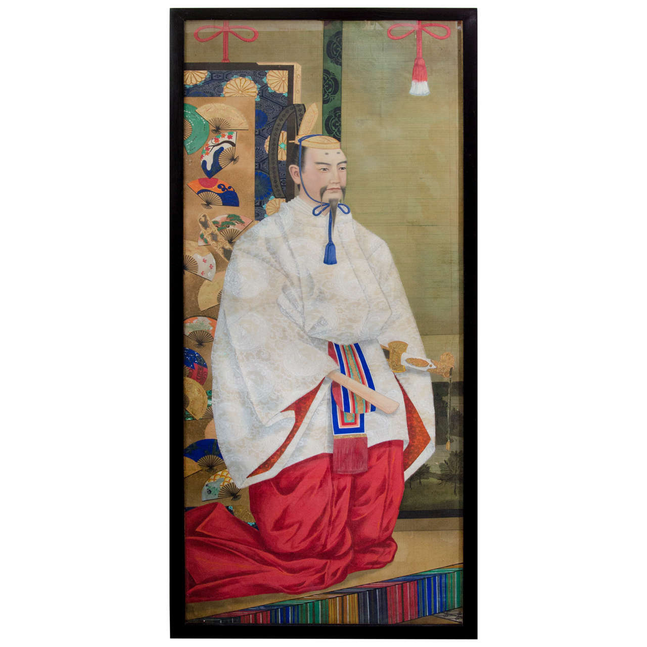 Japanese Imperial Portrait Painting of Man in White and Red