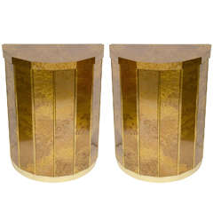 Pair of Mid Century Demi-Lune Tables By Mastercraft