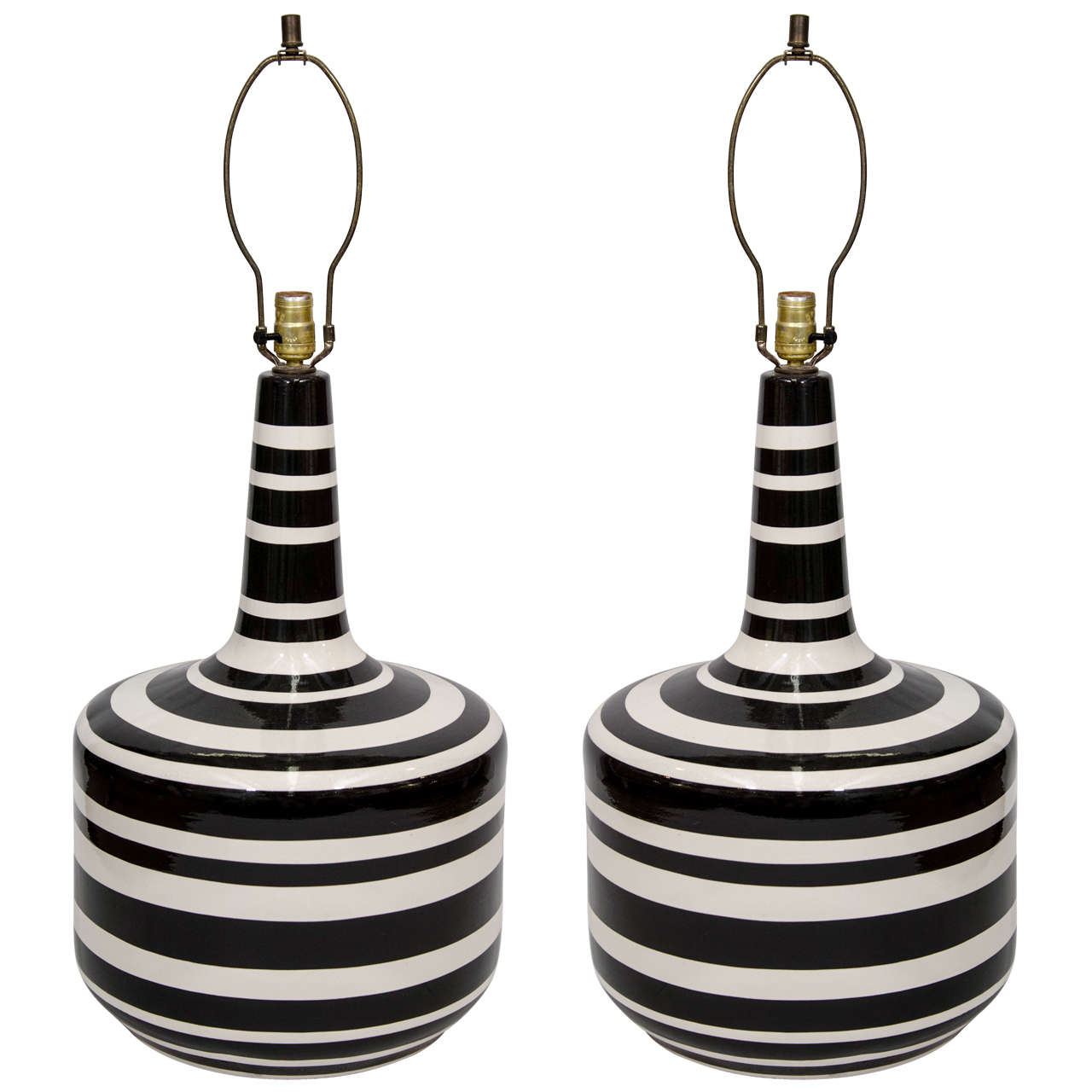 A Large Mid Century Pair of Striped Italian Glazed Ceramic Lamps ...