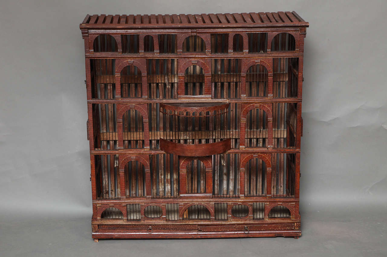 Most unusual Early 19th Century painted wood and tole birdhouse in the form of a Palladian villa, the lattice work top over five story arched and arcaded facade, each