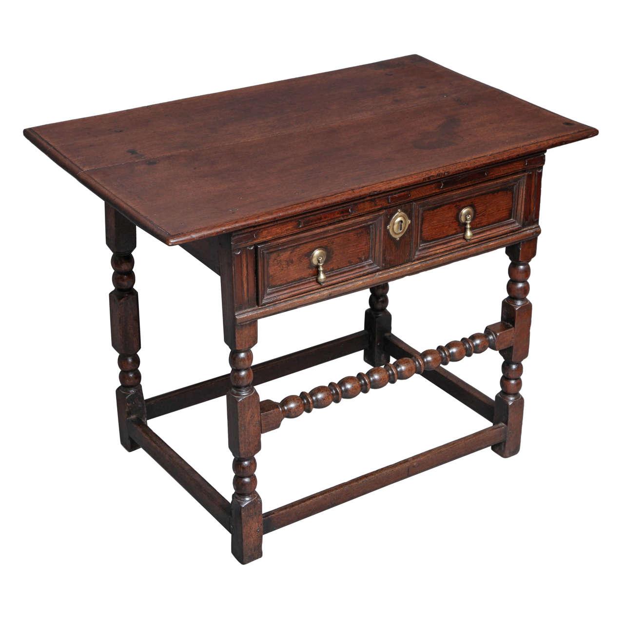 Charles II Oak Side Table For Sale at 1stdibs