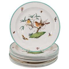 Set of Wedgwood Creamware Dinner Plates Showing Birds