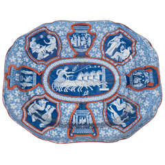 Spode Greek Ware Platter Blue white and Red