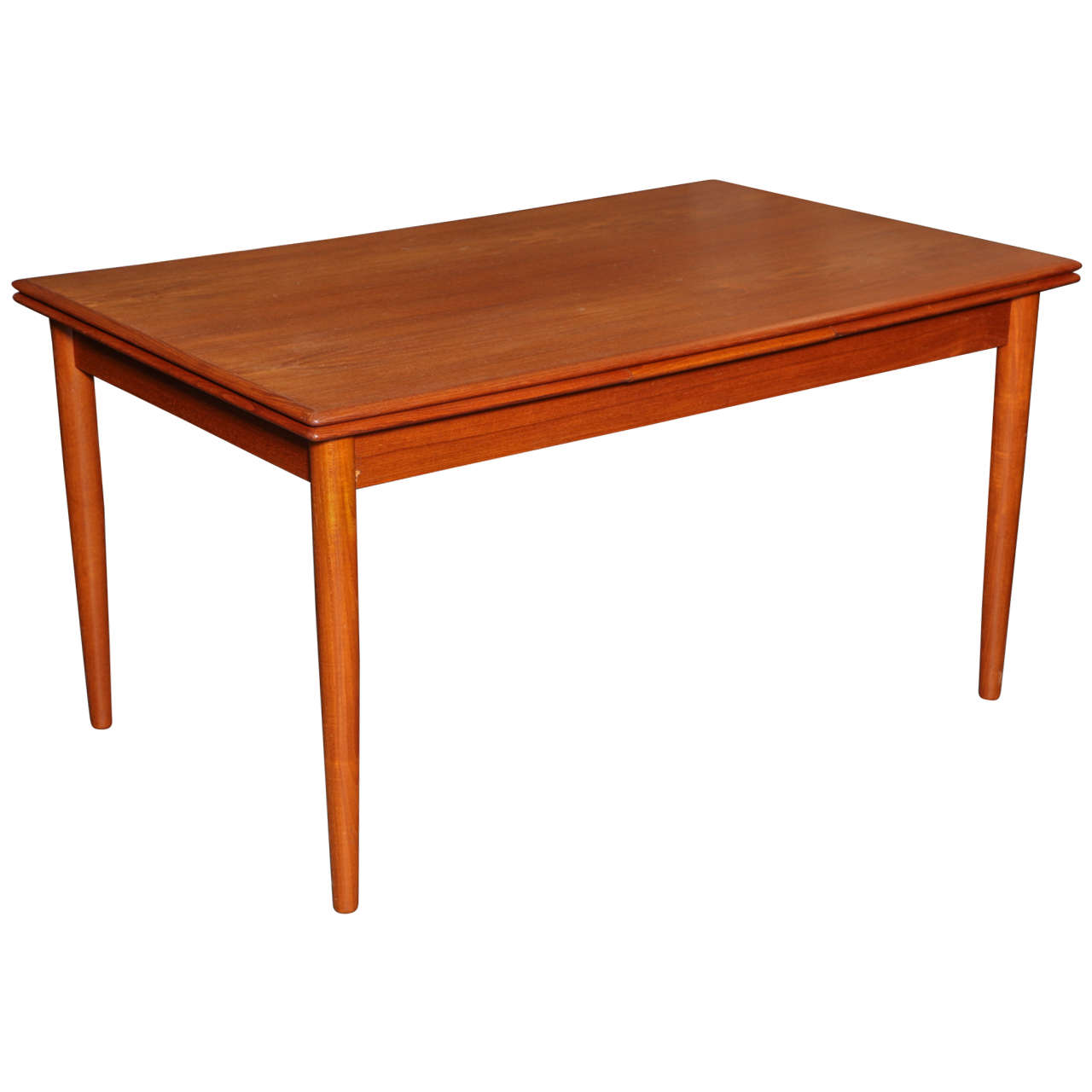 Danish modern dining table in teak expandable at 1stdibs for Danish modern dining room table