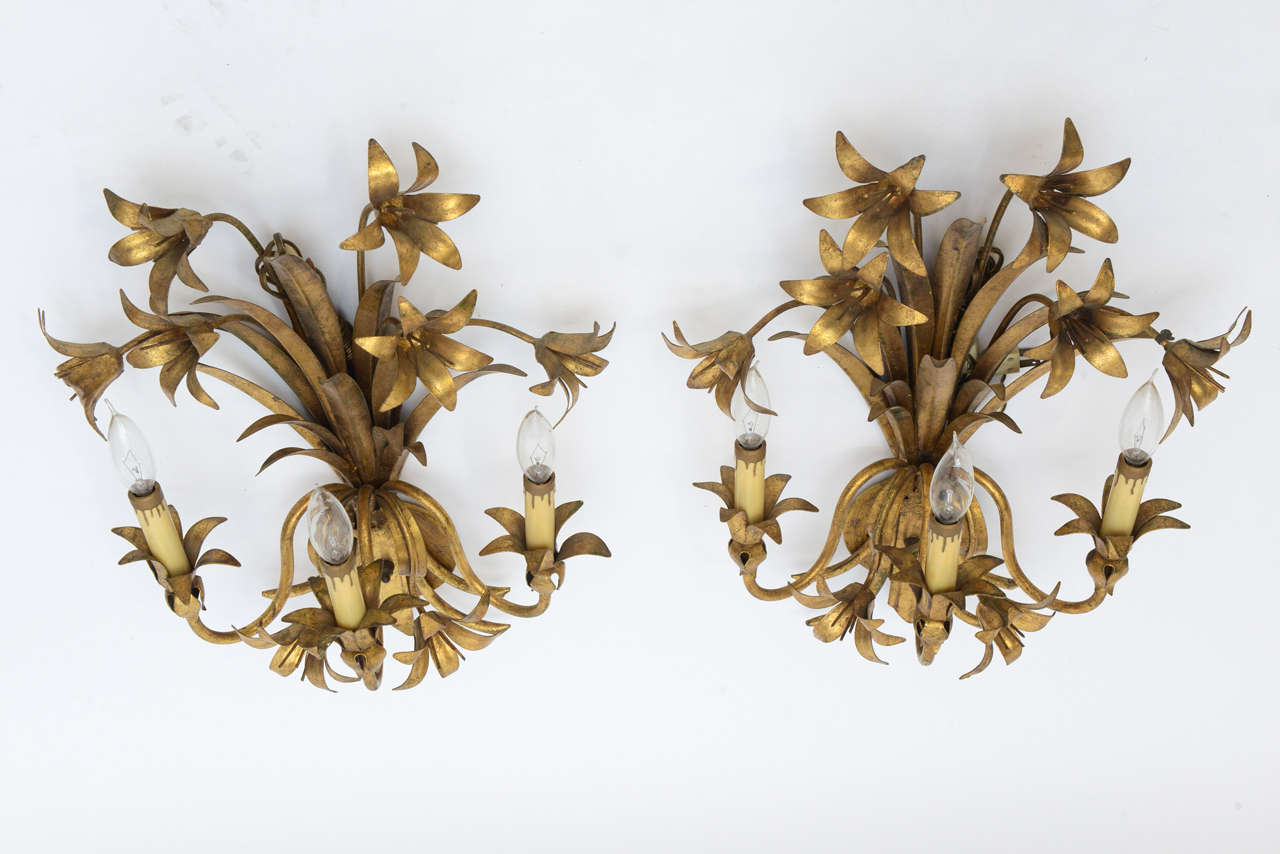 Floral Metal Wall Sconces : Pair Gilded Metal, Floral Wall Sconces at 1stdibs