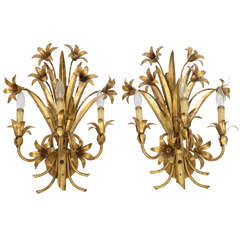 Pair Gilded Metal, Floral Wall Sconces