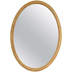 George III Chippendale Period Giltwood Oval Wall Mirror