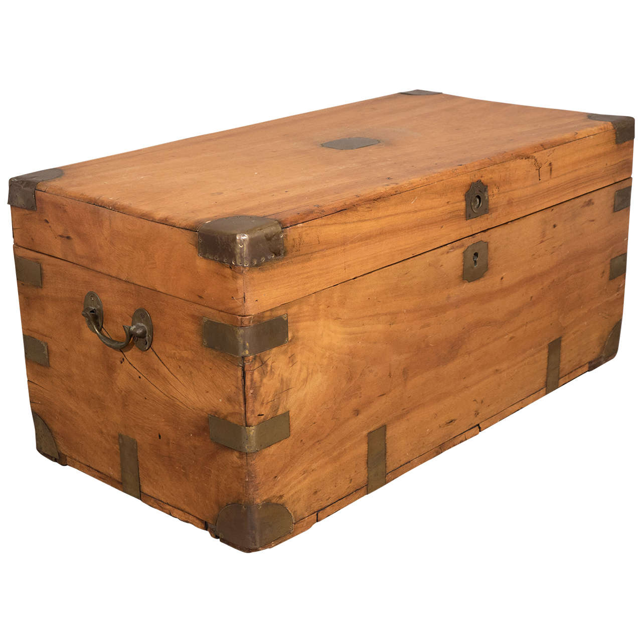 Chinese Export Camphorwood Sea Chest Or Campaign Trunk At 1stdibs