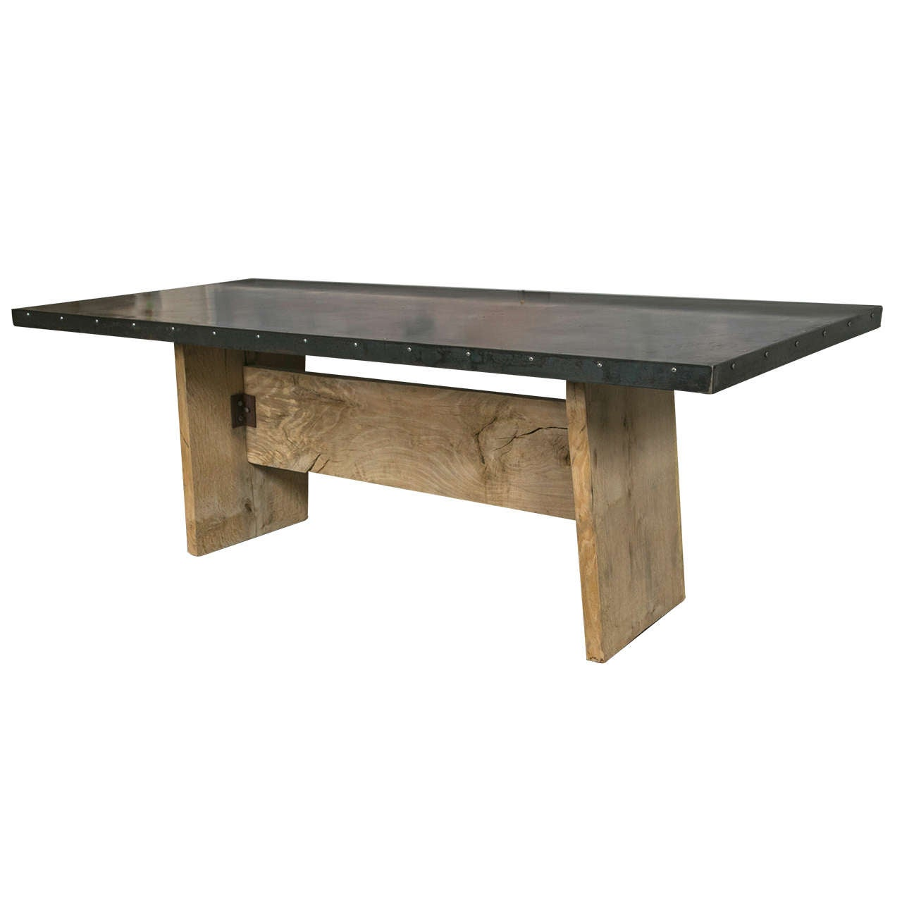 Zinc top trestle table at 1stdibs for Table exterieur zinc