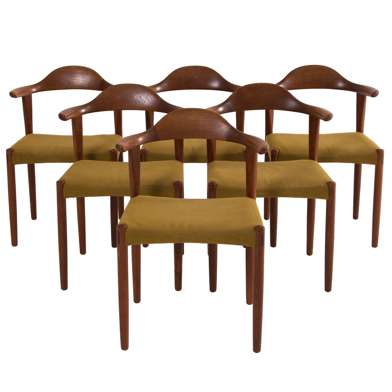 Set Of Six Danish Teak Bullhorn Chairs 1