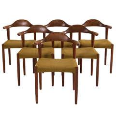 Set of Six Danish Teak Bullhorn Chairs