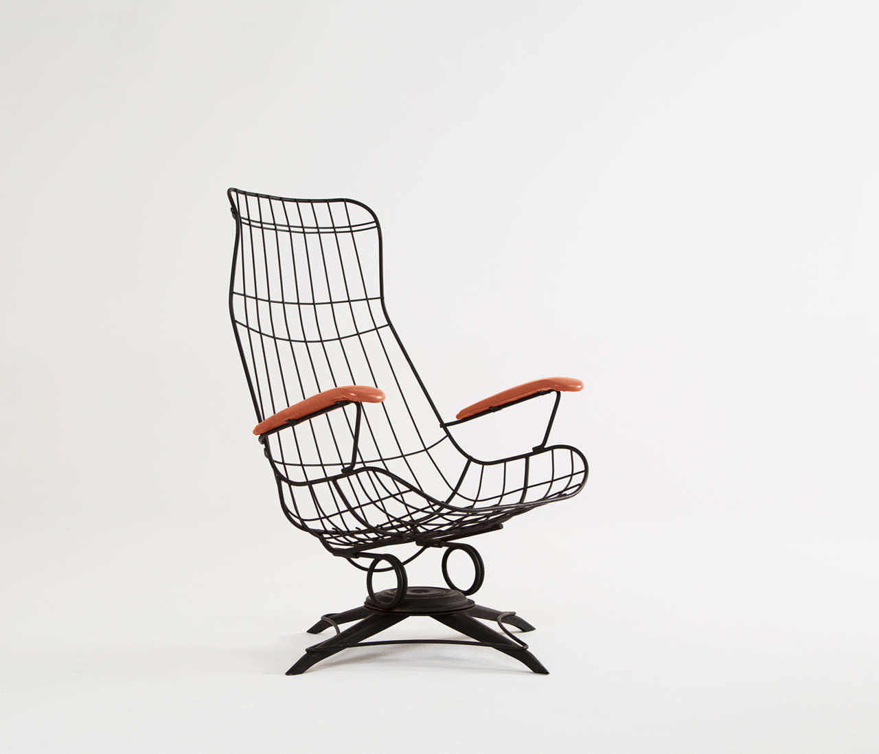 Black Wire Metal Rocking Chair With Original Upholstery