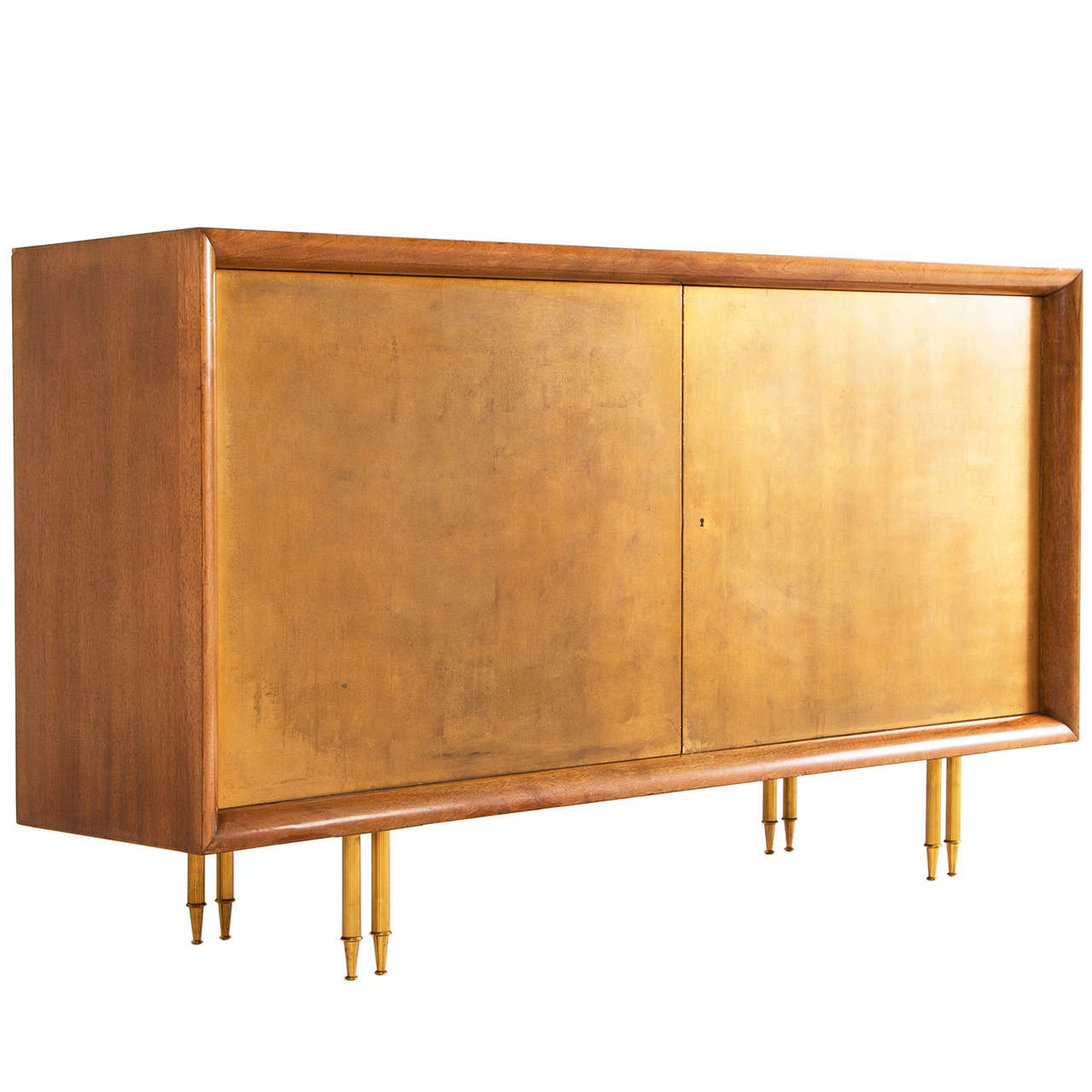 Solid walnut sideboard with gold leaf covered doors at 1stdibs for Sideboard gold