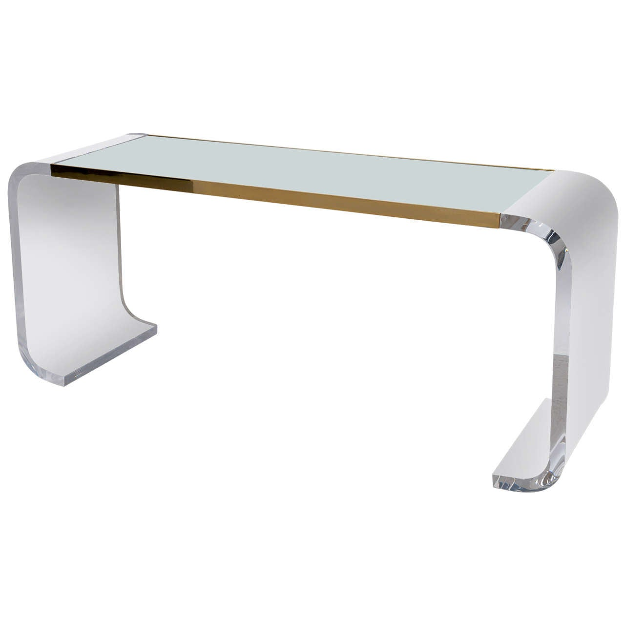 Lucite waterfall console table at 1stdibs for Table console