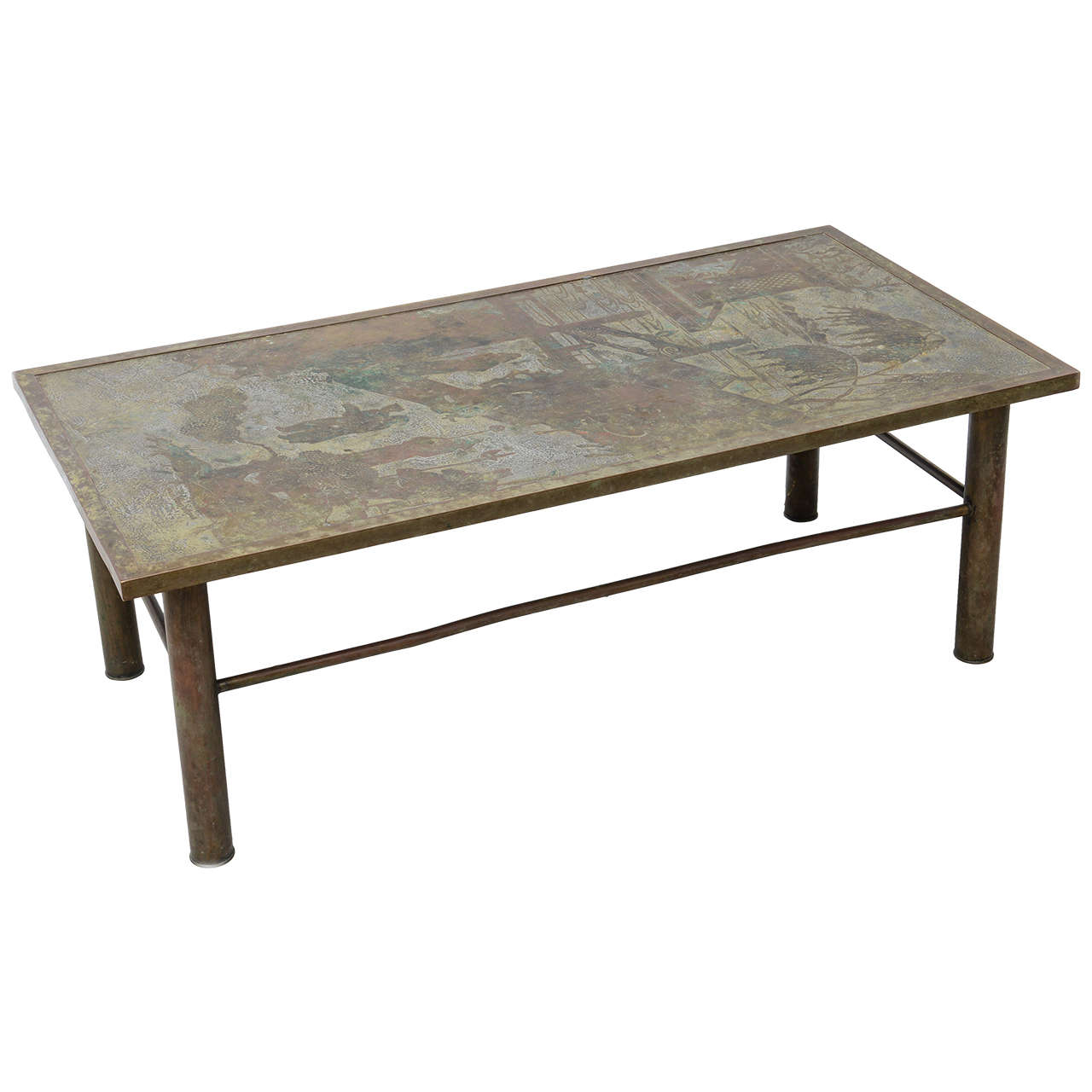 Signed laverne bronze coffee table at 1stdibs Bronze coffee tables