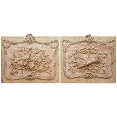 19th Century Pair of Carved Panels