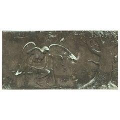 Antique, Rare Sculptural Bronze Angel Plaque / Panel