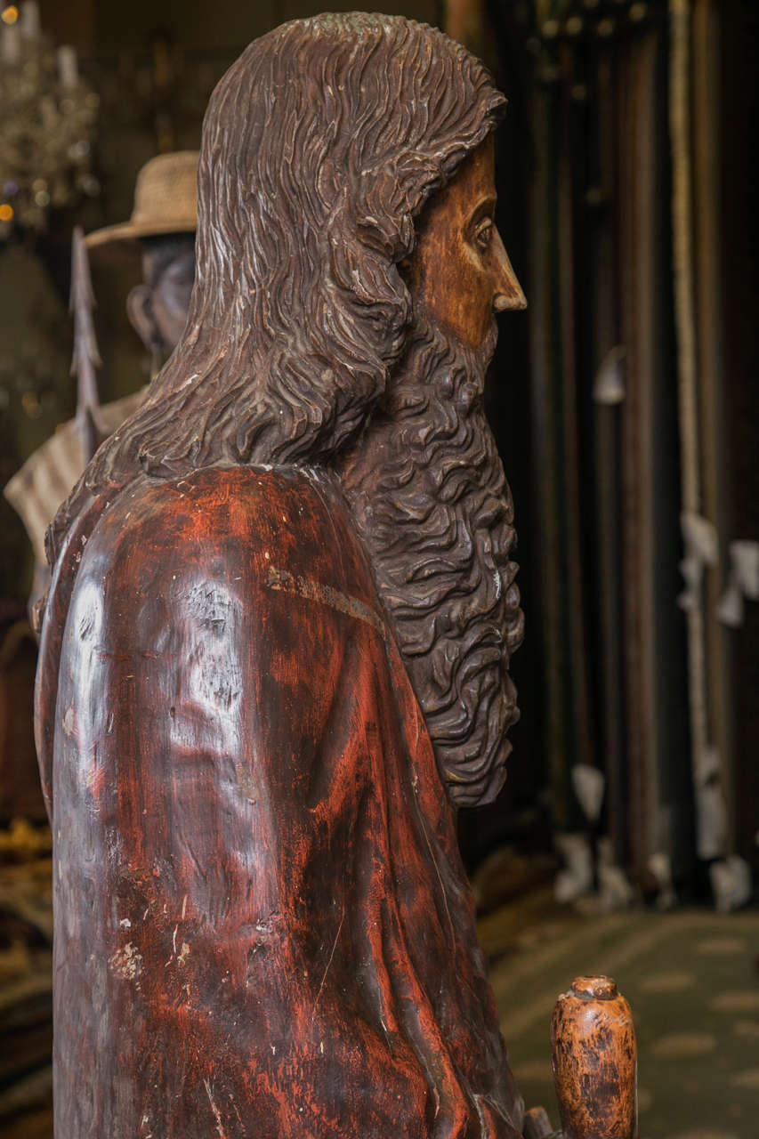 Hand carved wooden traditional statue of saint paul for sale at 1stdibs