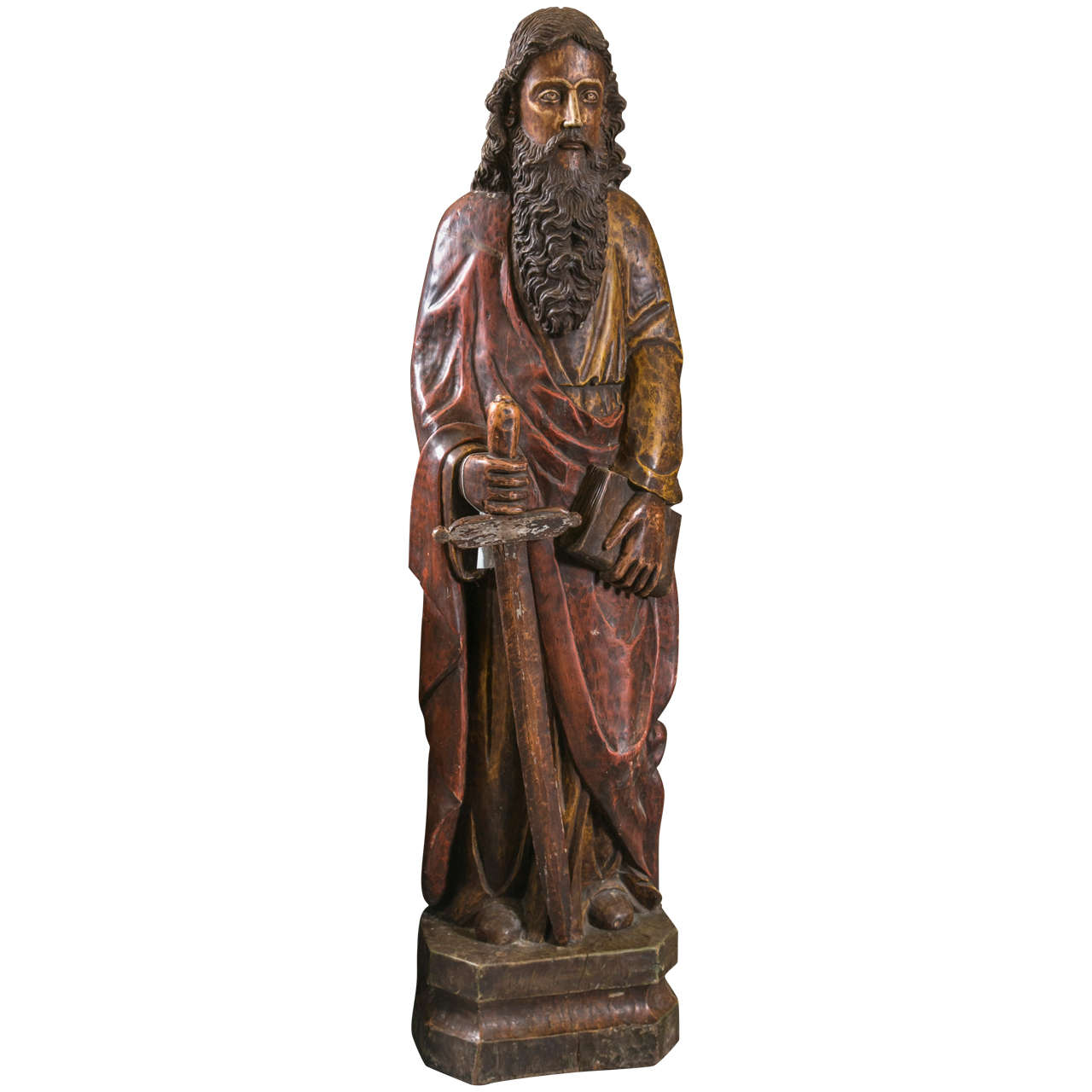 Hand carved wooden traditional statue of saint paul for