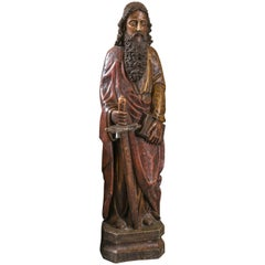 Hand-Carved Wooden Traditional Statue of Saint Paul