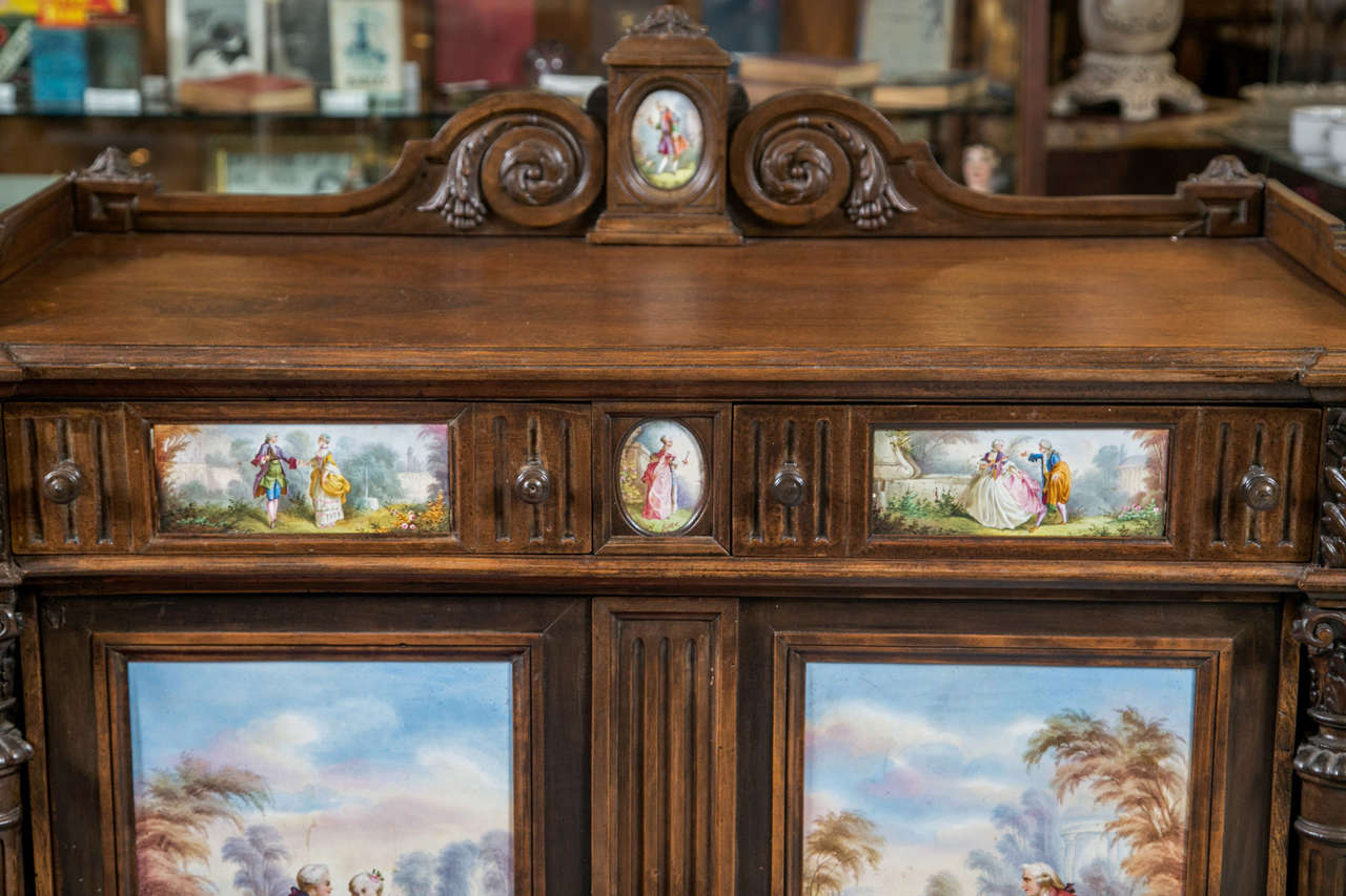French Antique Jelly Cabinet with Hand-Painted Pastoral Medallion Panels