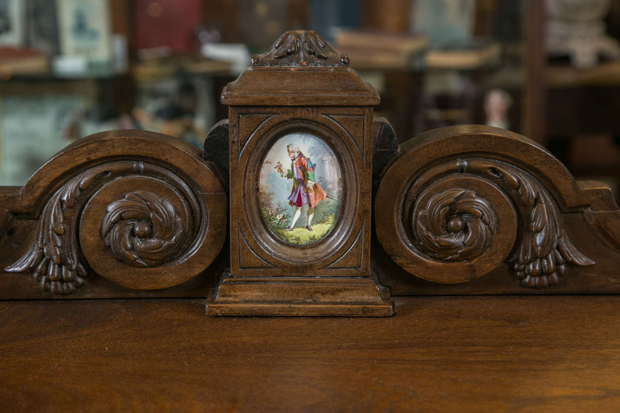 Antique Jelly Cabinet with Hand-Painted Pastoral Medallion Panels In Excellent Condition In Stamford, CT