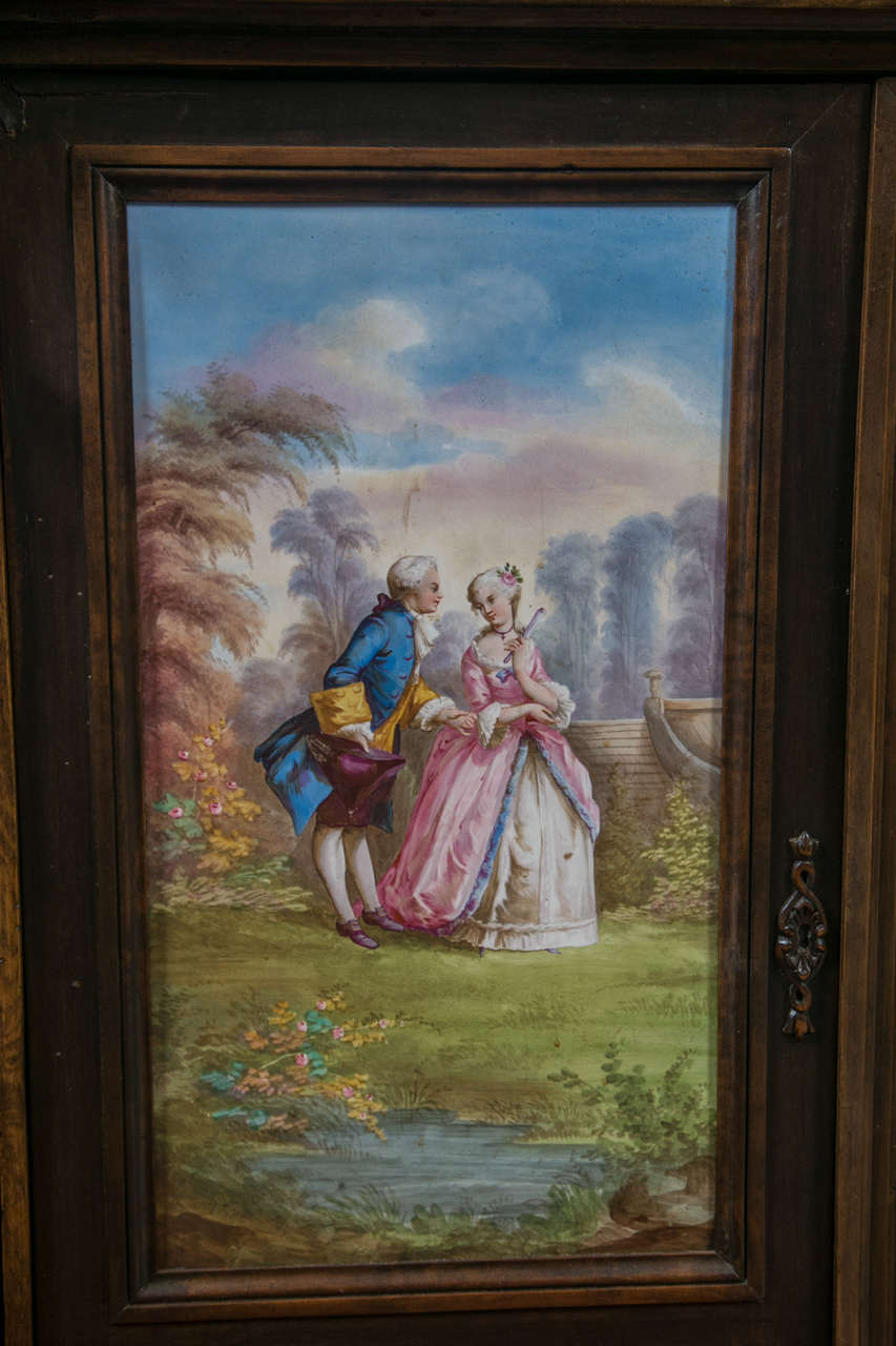 Antique Jelly Cabinet with Hand-Painted Pastoral Medallion Panels 2