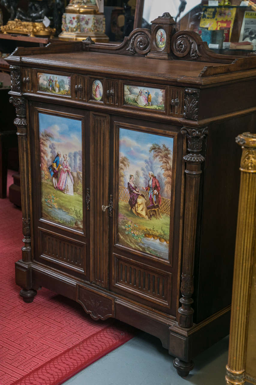 Antique Jelly Cabinet with Hand-Painted Pastoral Medallion Panels 5
