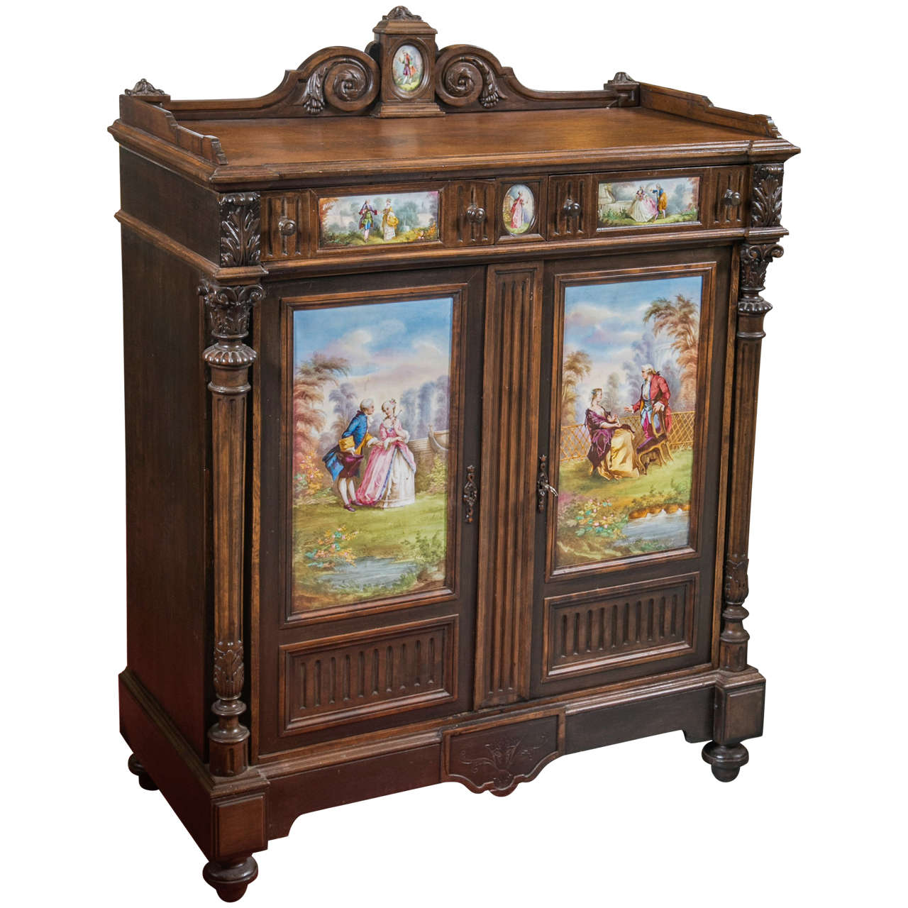 Charmant Antique Jelly Cabinet With Hand Painted Pastoral Medallion Panels For Sale