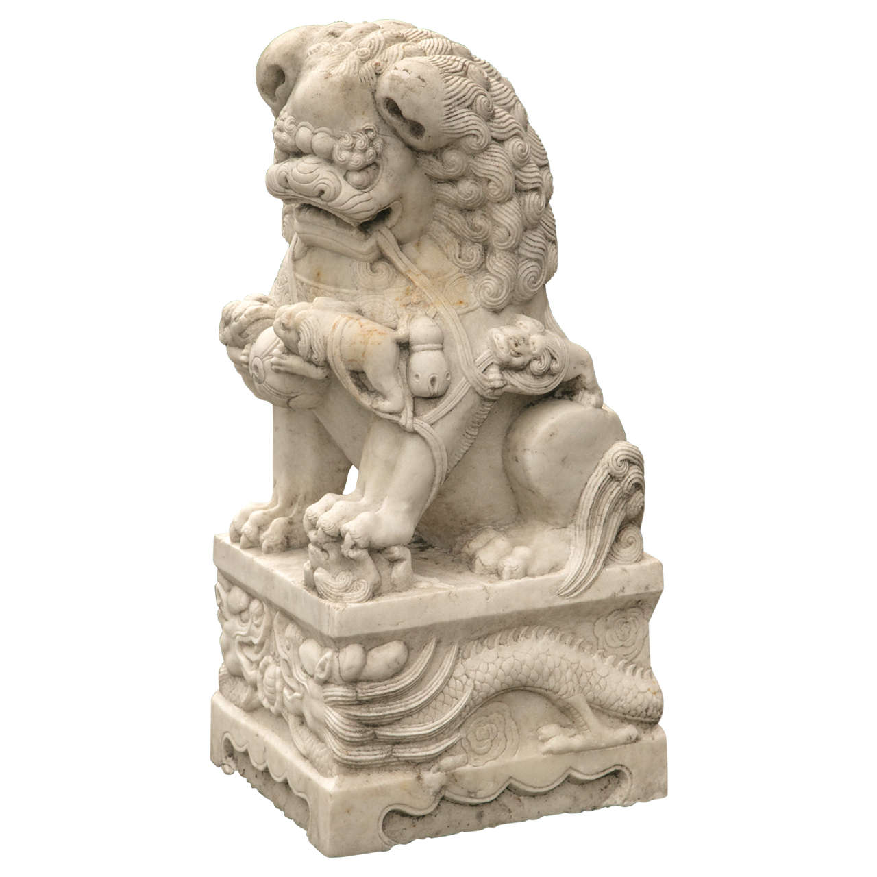 Vintage Pair of Marble Temple Lion Foo Dogs at 1stdibs