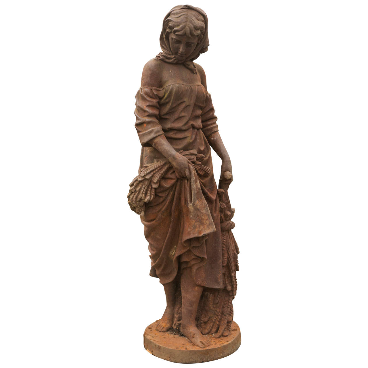 Large Cast Iron Lady Statue