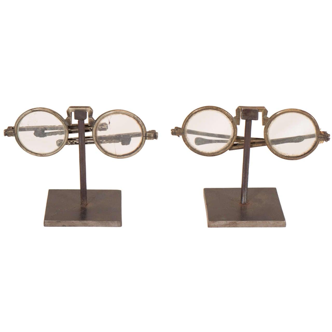 Antique Eyeglasses on Custom Stand