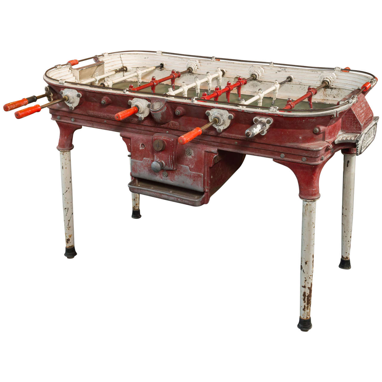 Vintage cast aluminum foosball table at 1stdibs for 10 games in 1 table