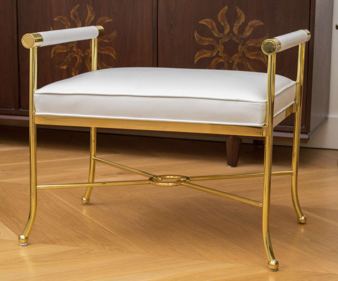 Polished Brass And White Leather Bench At 1stdibs