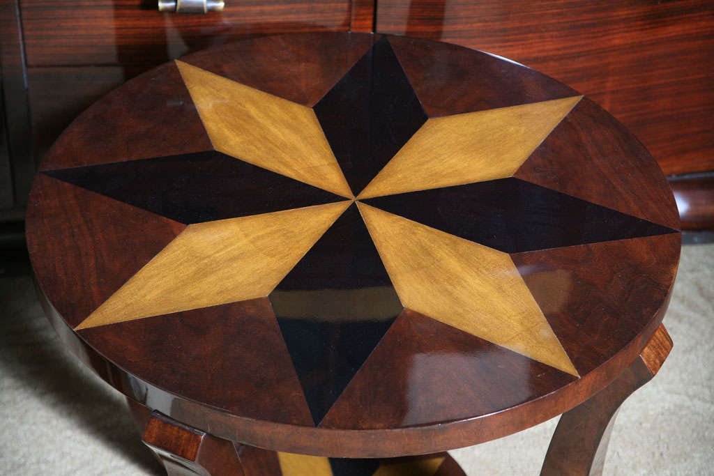 French Art Deco Exotic Walnut, Star Inlay Accent Table 3