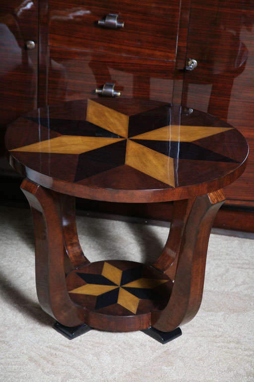 French Art Deco Exotic Walnut Star Inlay Accent Table At