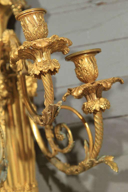 Pair Gilt  Bronze  5 Light Sconces For Sale 1