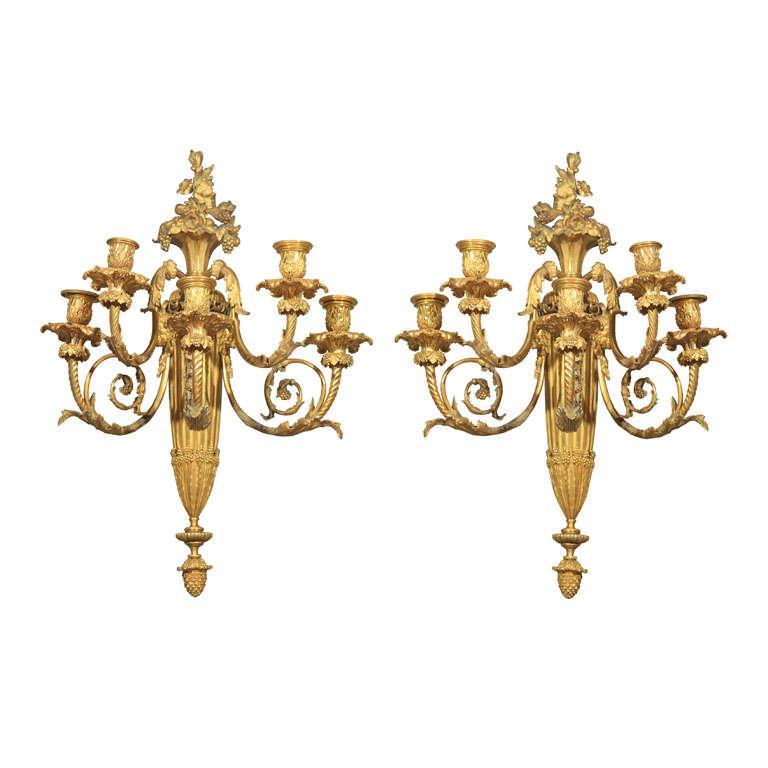 Pair Gilt  Bronze  5 Light Sconces For Sale