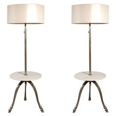 Pair of French 1970's Table Lamps with Marble Tops