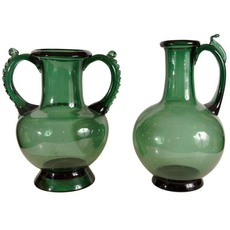 Two Vintage Large Heavy Handblown Glass Vases At 1stdibs