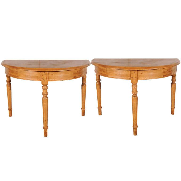 Pair Antique Pine Demi-Lune Tables