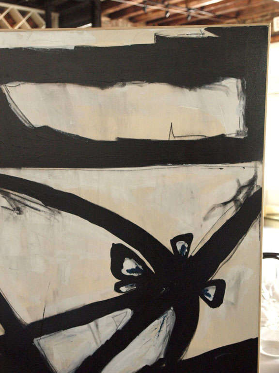 Charcoal Original Signed Abstract Painting by Karina Gentinetta (6 ft.) For Sale