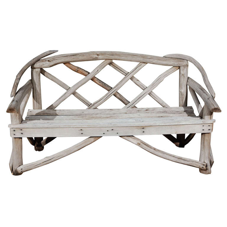 English Tree Limb Bench, Circa 1890