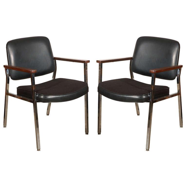 Bauhaus Chrome and Wood Black Armchairs