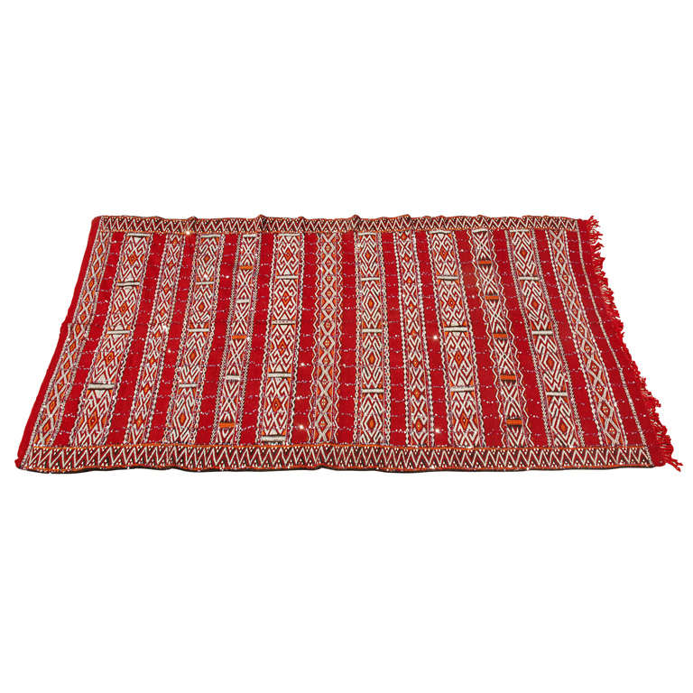 Vintage Moroccan Area Rug For Sale At 1stdibs: Moroccan Tribal Wedding Rug With Sequins For Sale At 1stdibs