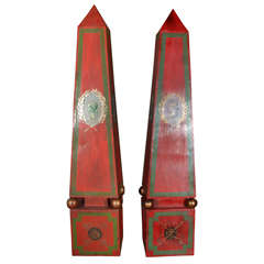 Large Pair of Italian Tole Obelisks